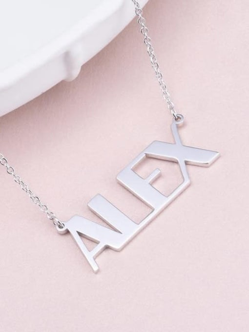 Lian Designs Alex style Silver Personalized Name Necklace