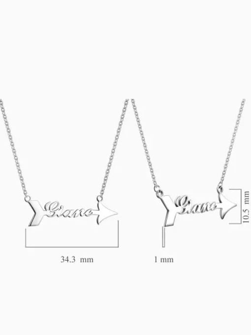Lian Designs Personalized 925 Silver Arrow Name Necklace