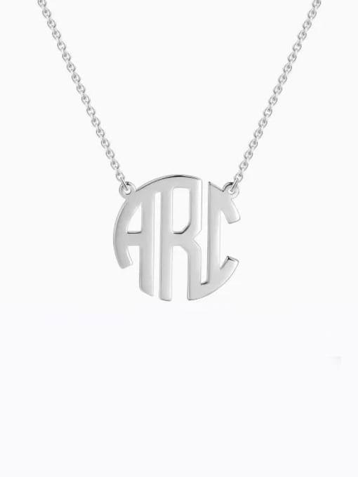 Lian Designs Personalized Block Monogram Necklace Silver