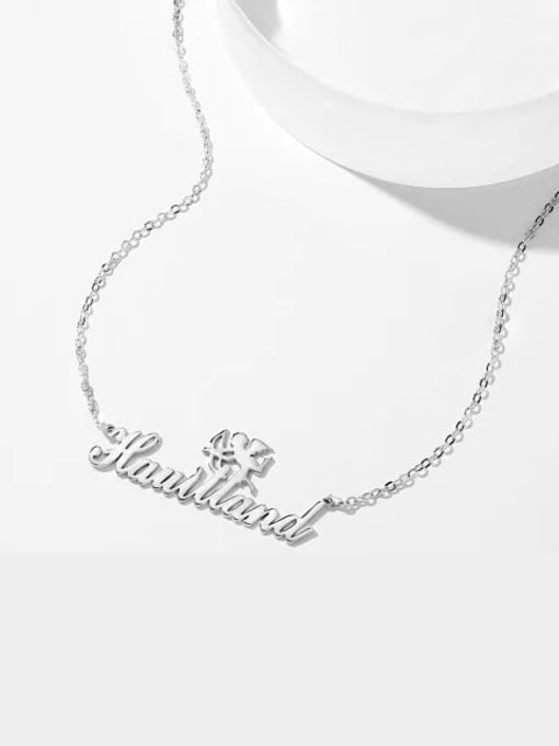 Lian Designs Customized Silver Cupid Name Necklace 18K White Plated