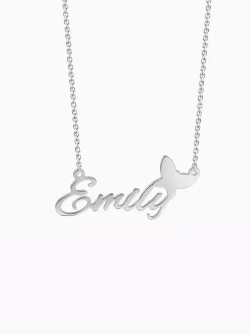 Lian Designs Customize silver Personalized Name Necklace With Butterfly