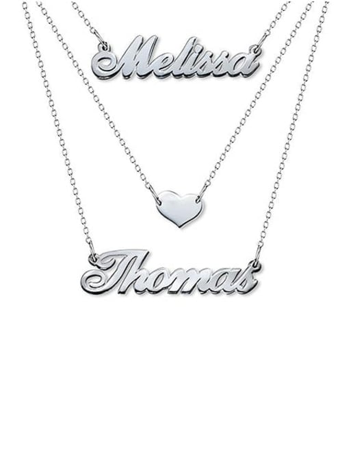 Lian Designs Three Layers Personalized Heart Name Necklace Silver