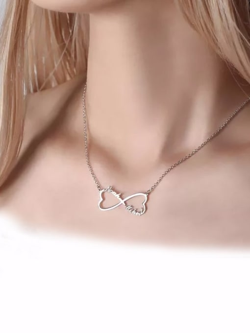 Lian Designs Customized Sliver Heart Infinity Name Necklace