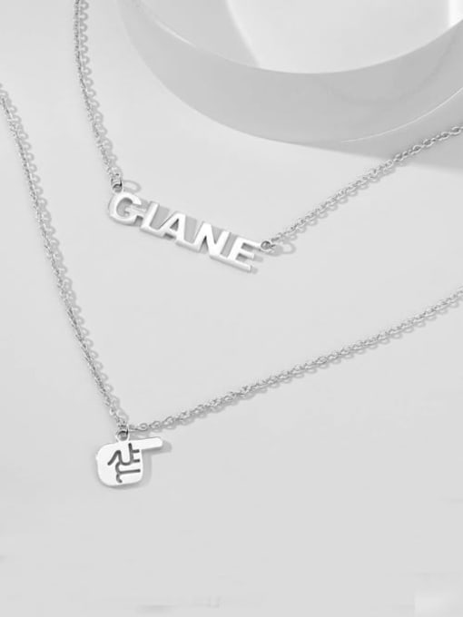 Lian Designs Name Necklace with Layered Gesture silver