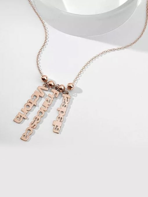 Lian Designs Customize Personalized Vertical 3 Name Necklace Rose Gold Plated Silver