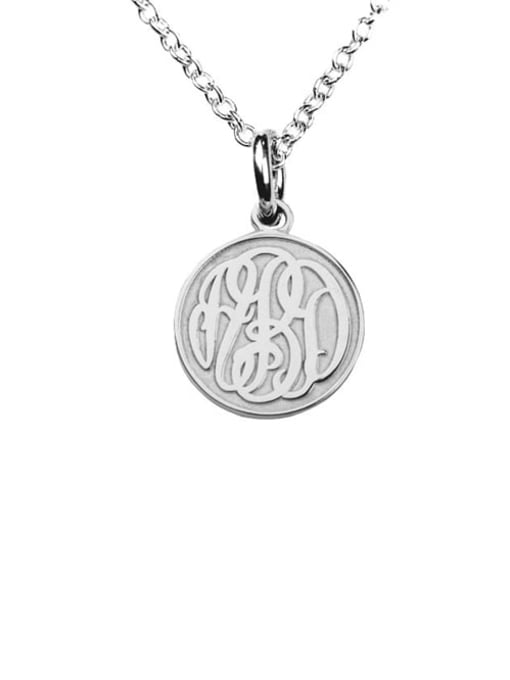 Lian Designs Customize Embossed  Monogram Necklaces sterling siver