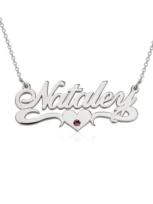 Lian Designs Personalized Birthstone Name Necklace With Underline Hearts