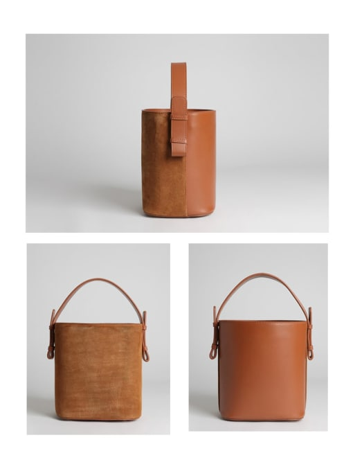 In Mix Matte/leather A/B face bucket bag