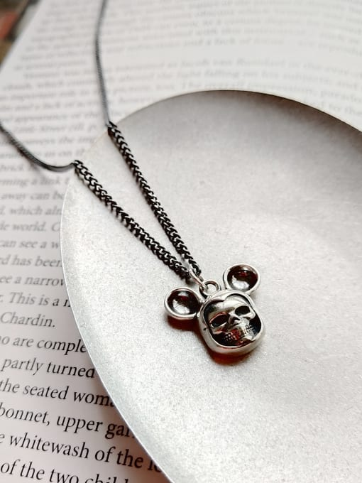 Jolie Silver Sterling Silver Vintage Mickey skull Necklace