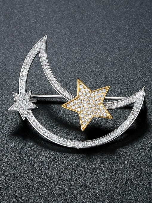 Armadani Copper inlaid AAA zircon moon star Brooch