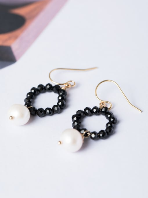 Christian Fashion Tiny Black Stones Artificial Pearl 925 Silver Earrings