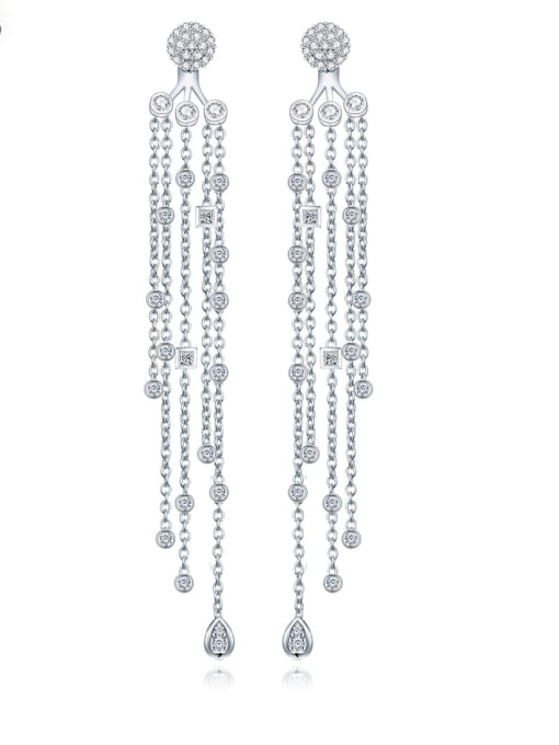 BLING SU Copper With Platinum Plated Trendy Tassels Chandelier Earrings