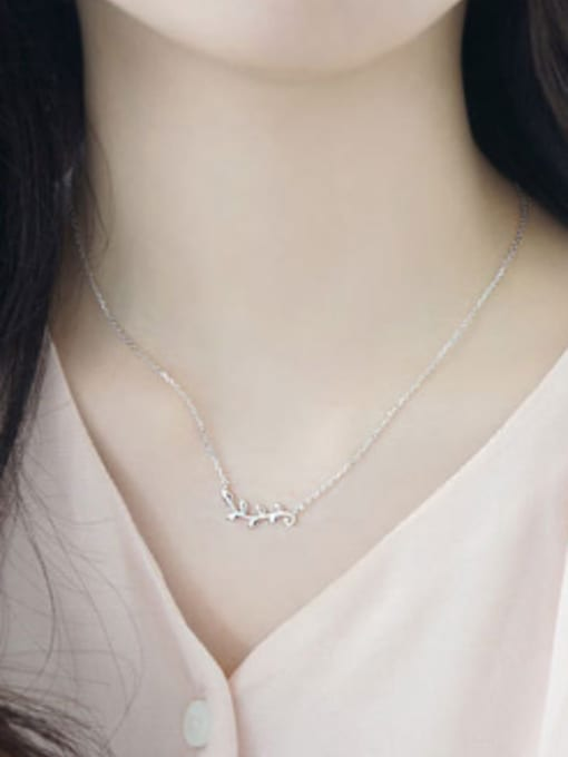Arya Simple Leaves Branch Pendant Silver Necklace