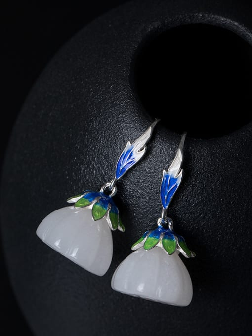 Christian Ethnic style White Jade Lotus Seedpod 925 Silver Earrings