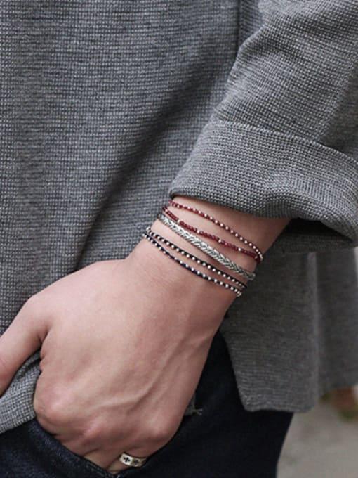 Dark Phoenix Sterling silver minimalist style woven pattern creative open bracelet