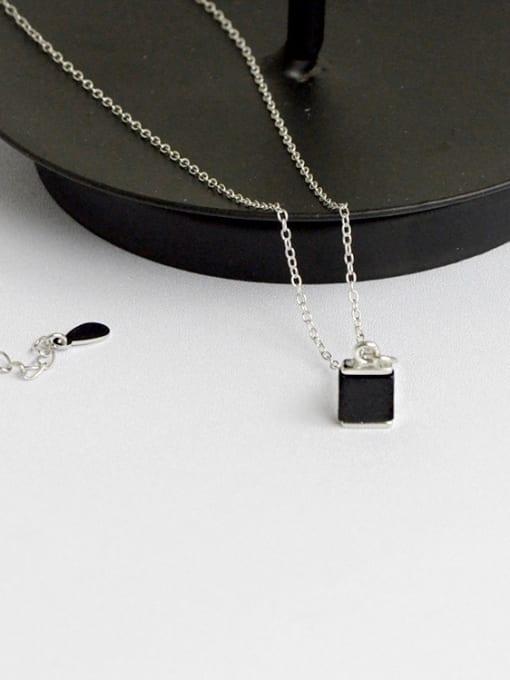 Arya Simple Black Square Carnelian stone Silver Necklace
