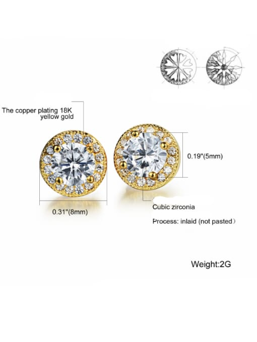 Tong Copper With White Gold Plated Simplistic Round Stud Earrings