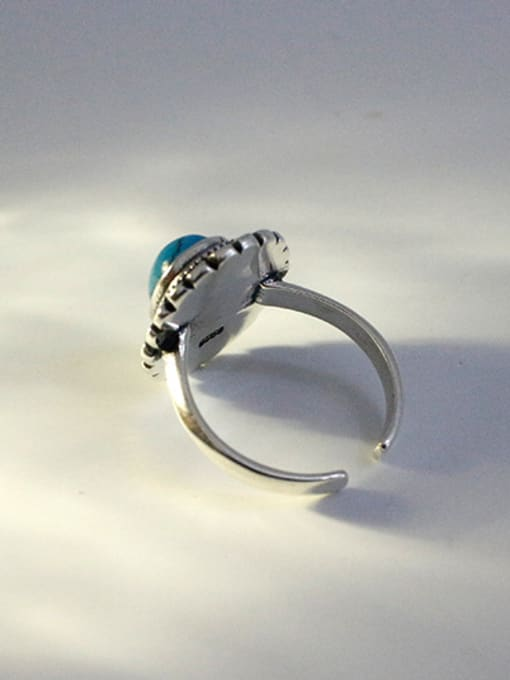 Arya Retro style Oval Turquoise stone Silver Opening Ring