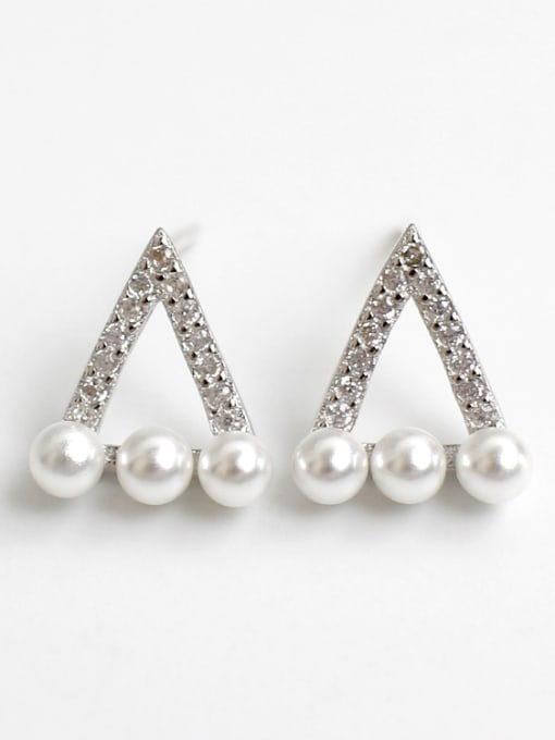 Arya Simple Artificial Pearls Hollow Triangle Rhinestones Silver Stud Earrings