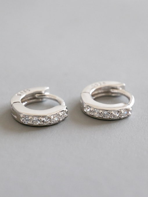 Arya 925 Sterling Silver With White Gold Plated Classic Cubic Zirconia Earrings