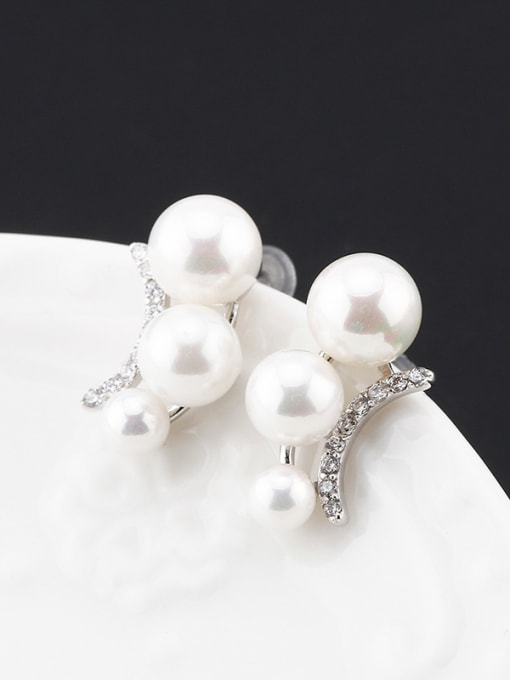 OUXI Fashion Artificial Pearls Zircon Stud Earrings