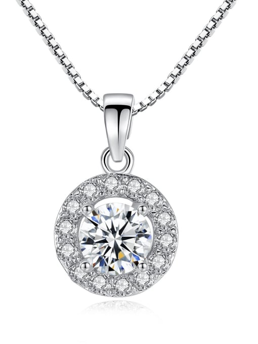 BLING SU Copper With Platinum Plated Classic Round Cubic Zirconia Necklaces & Pendants