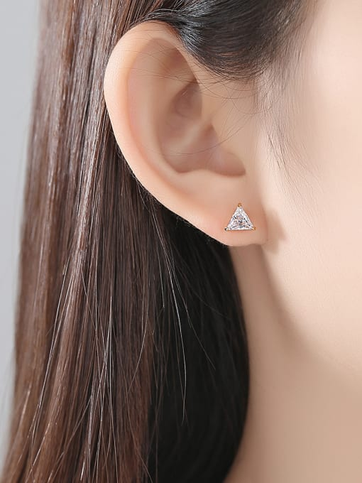 BLING SU Copper With 18k Gold Plated Simplistic Triangle Stud Earrings