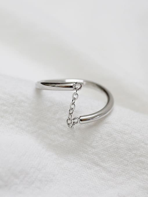 Arya Simple Personalized Smooth Silver Opening Ring