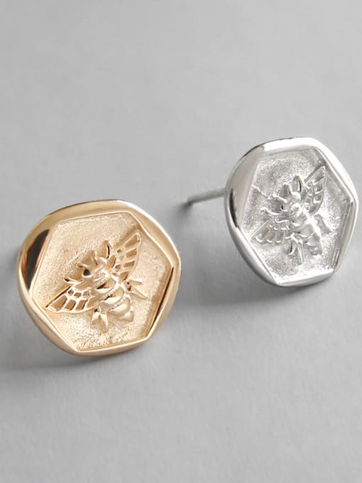 Dark Phoenix 925 Sterling Silver With Champagne Gold Plated Cute Insect bee Stud Earrings