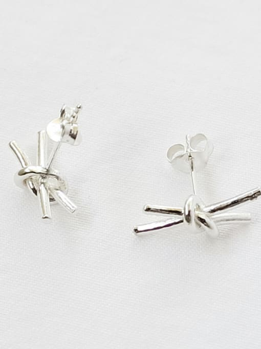 Arya Personalized Little Knot Silver Women Stud Earrings