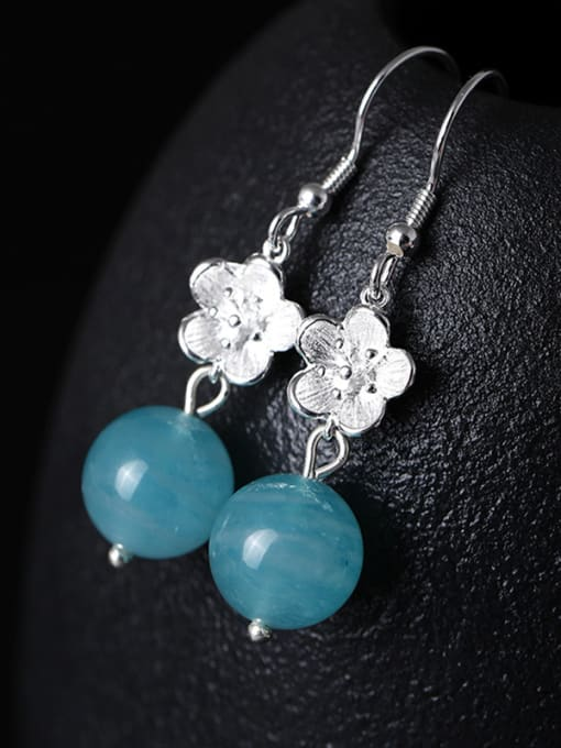 Christian Retro style Crystal Beads Little Flower 925 Silver Earrings