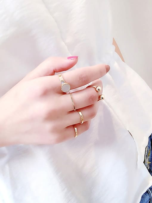 Girlhood Alloy With Gold Plated Trendy Ball Stacking Rings