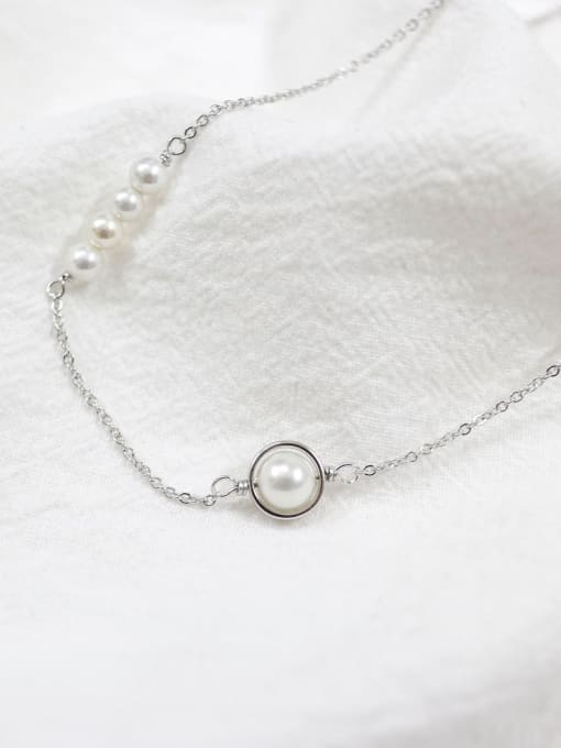 Arya Fashion White Artificial Pearls Silver Women Necklace
