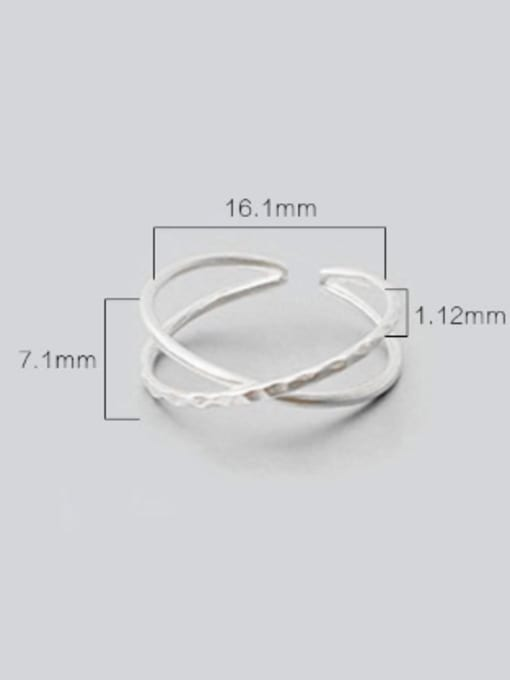 Arya Two-band X-shaped Simple Silver Smooth Opening Ring