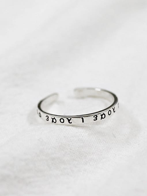 Arya Simple Greek Alphabet Silver Opening Ring