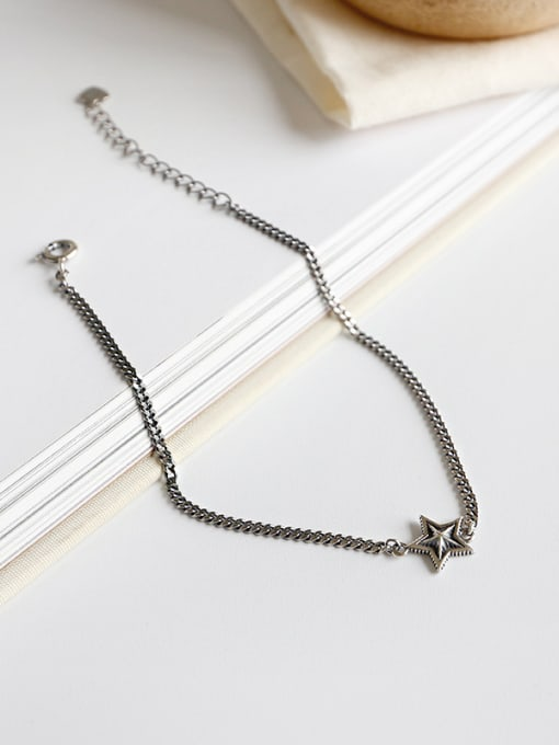 Arya Sterling silver retro five-pointed star chain anklet