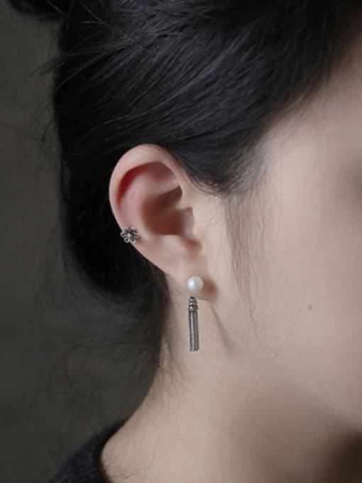 Arya Retro style Little Tassels Flower Silver Women Stud Earrings