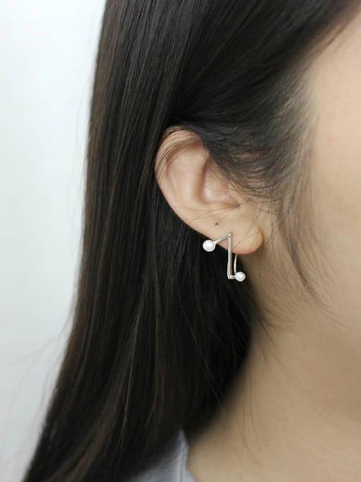 Arya Fashion Little Freshwater Pearls Letter Z-shaped Silver Stud Earrings