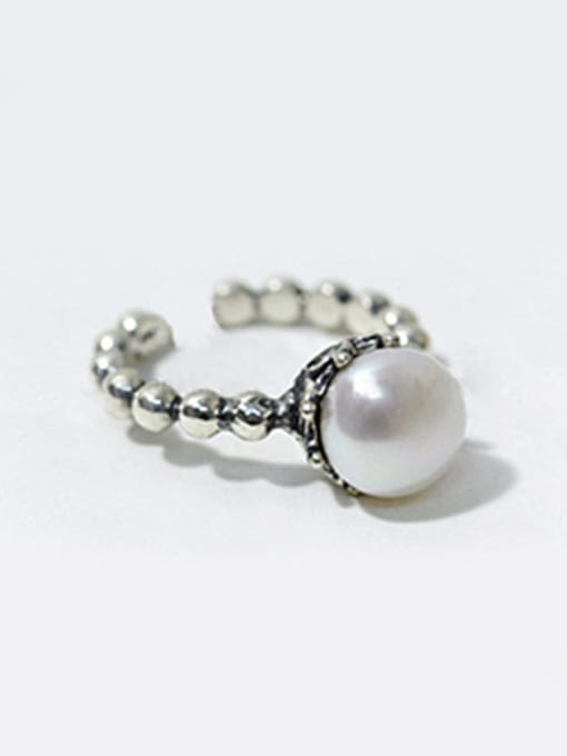 Arya Simple Artificial Pearl Tiny Beads-band Opening Silver Ring