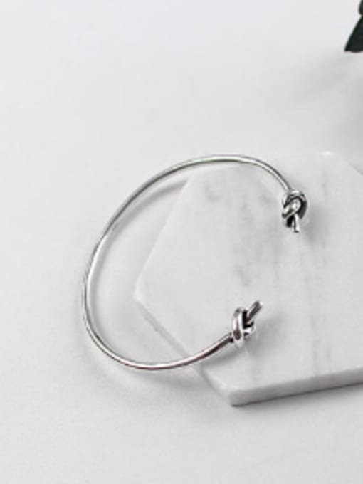 Arya Simple Little Knots Antique Silver Plated Opening Bangle