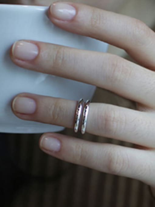 Arya Simple Two-band Smooth Silver Ring