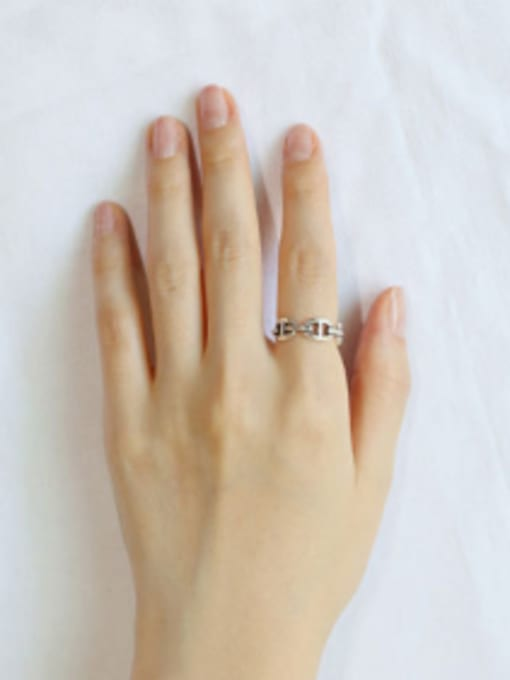 Arya Personalized Hollow Silver Opening Ring