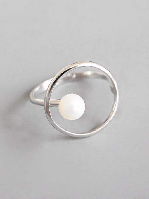 Dark Phoenix 925 Sterling Silver With Platinum Plated Fashion Round Imitation Pearl Solitaire Rings