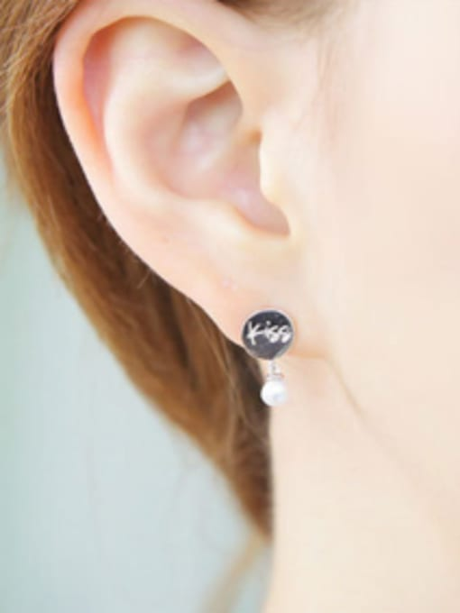 Arya Personalized White Artificial Pearl Kiss Me Silver Stud Earrings