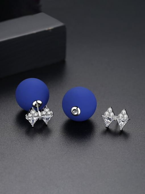 BLING SU Copper With 18k Gold Plated Fashion Ball Stud Earrings