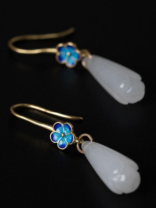 Christian Retro style White Jade Flower 925 Silver Earrings