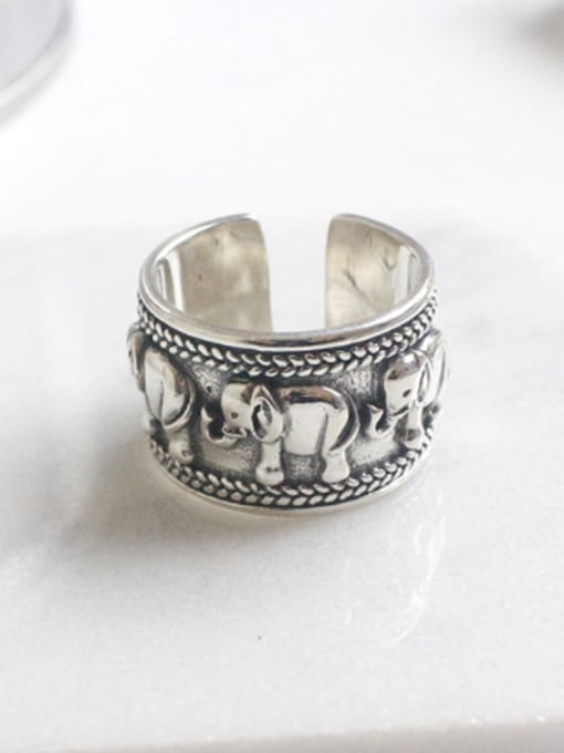 Arya Ethnic style Little Elephant-etched Silver Opening Ring