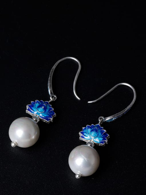 Christian Ethnic style Shell Pearl Blue Lotus Flower 925 Silver Earrings
