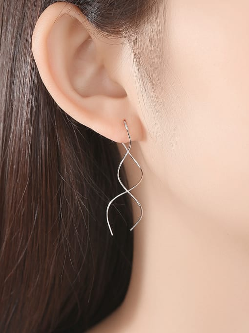 CCUI 925 Sterling Silver With Glossy line Simplistic Fringe  Earrings