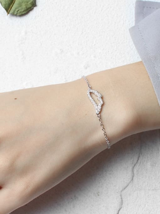 Arya Fashion Cubic Zircon-studded Hollow Wing Silver Bracelet